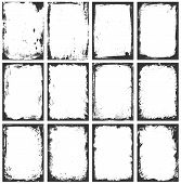 stock photo of messy  - A set of twelve grunge vector frames with stains scratches and brush strokes - JPG