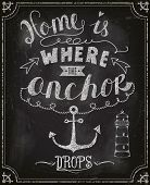 Постер, плакат: Chalkboard Motivational Poster Home is where the anchor drops typography poster on a blackboard