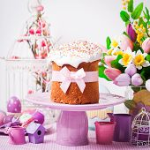 image of cake stand  - Easter cake on the cake stand and flowers - JPG