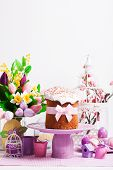 picture of cake stand  - Easter cake on the cake stand and flowers - JPG