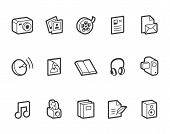 foto of mass media  - Outlined media and publishing vector icons - JPG