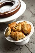 image of french pastry  - Cakes pastries and croissants in a French bakery - JPG