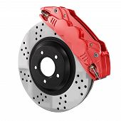 ������, ������: Automobile Braking System Aeration Steel Brake Disk With Perforation And Red Six Pistons Calipers A