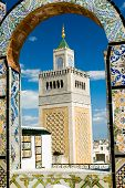 Mosque Tower - Framed With Ornamental Arch In Tunis