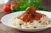 stock photo of meatball  - Pasta and meatballs with tomato sauce in white plate - JPG