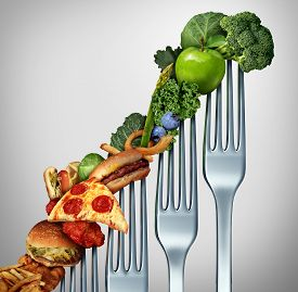 image of high-rise  - Diet progress change as a healthy lifestyle improvement concept and evolving to accept the challenge of eating raw food and losing weight as a group of rising forks with meal items on them from fatty food towards vegetables and fruit - JPG