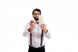 foto of suspenders  - Handsome man wearing suspenders with menstruation pad - JPG