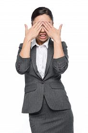 pic of disgusting  - Woman feeling shock horror disgust covering face with hands - JPG