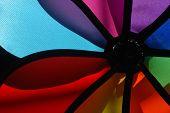 Display colorido de moinho de vento na loja estacionária