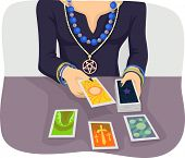Illustration of a Woman Wearing Special Charms and Amulets Foretelling the Future with the Use of Ta poster
