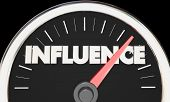 Influence Speedometer Power Persuasion Word 3d Illustration poster