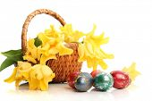 stock photo of easter flowers  - Easter colored eggs and yellow tulips in grass - JPG