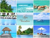Spa vacation concept. Luxury resort collage poster