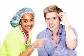 Happy medical worker and patient