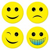 stock photo of sad faces  - four emoticons from which 3 are happy and one is sad - JPG