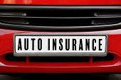 Car insurance concept. Car plate number, closeup poster