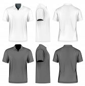 Mens slim-fitting short sleeve polo shirt. Front, back and side views of polo-shirts. White and bla poster
