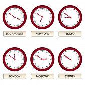 Vector reloj faces - zonas horarias