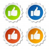 stock photo of thumbs-up  - vector thumb up stickers - JPG
