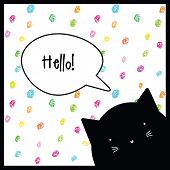 Hello. Cat character. Greeting card. Background.  poster