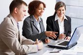 stock photo of business meetings  - Business people discussing in a meeting - JPG