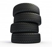 Stack of new tires isolated on white - 3d render