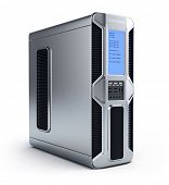 Modern computer server over white background