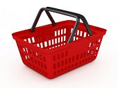 pic of grocery cart  - Red shopping basket - JPG