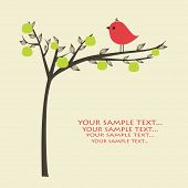 picture of apple tree  - Greeting card with bird on apple tree - JPG