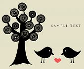 Black birds under abstract tree.