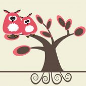 stock photo of valentine card  - Valentine card with owls couple - JPG
