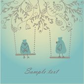 Vintage vector illustration with birds couple.
