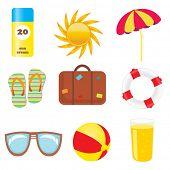Conjunto de iconos de playa y verano