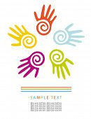 Colored hands. Abstract vector background