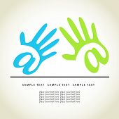 Colored hands. Vector concept