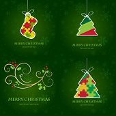 Christmas cards set. Vector illustration