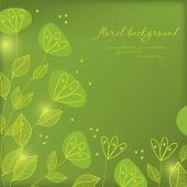 Green floral background with flowers and glowworms