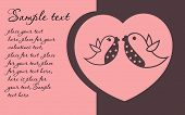 Greeting card with pink  heart and two birds inside