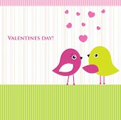 Cute valentine`s card with birds couple in love