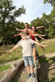 Family having fun on hiking day