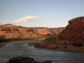 picture of amtrak  - sunset in ruby canyon west of grand junction - JPG