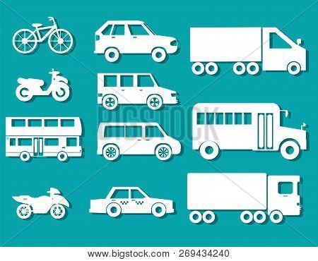 Flat Cars Concept Set Icon