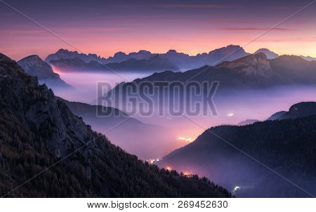 Mountains In Fog At Beautiful