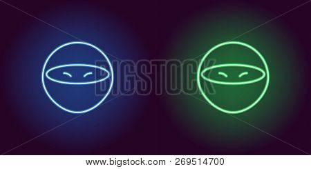 Neon Ninja Glowing Sign Vector