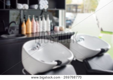 poster of Hairdressers Workplace. Modern Beauty Salon. Hair Salon Interior Business. Blurred Background