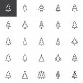 Christmas Tree Outline Icons Set. Linear Style Symbols Collection, Line Signs Pack. Vector Graphics. poster