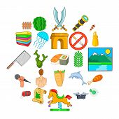 Summer Trip Icons Set. Cartoon Set Of 25 Summer Trip Vector Icons For Web Isolated On White Backgrou poster