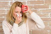 Remedies Should Help Beat Cold Fast. Woman Feels Badly Ill Sneezing. Cold And Flu Remedies. Girl In  poster
