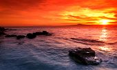 Amazing Sunset Over Rocky Seascape