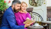 Common Interests. Man With Beard And Blonde Woman On Romantic Date. Couple In Love Sit Cafe Terrace. poster